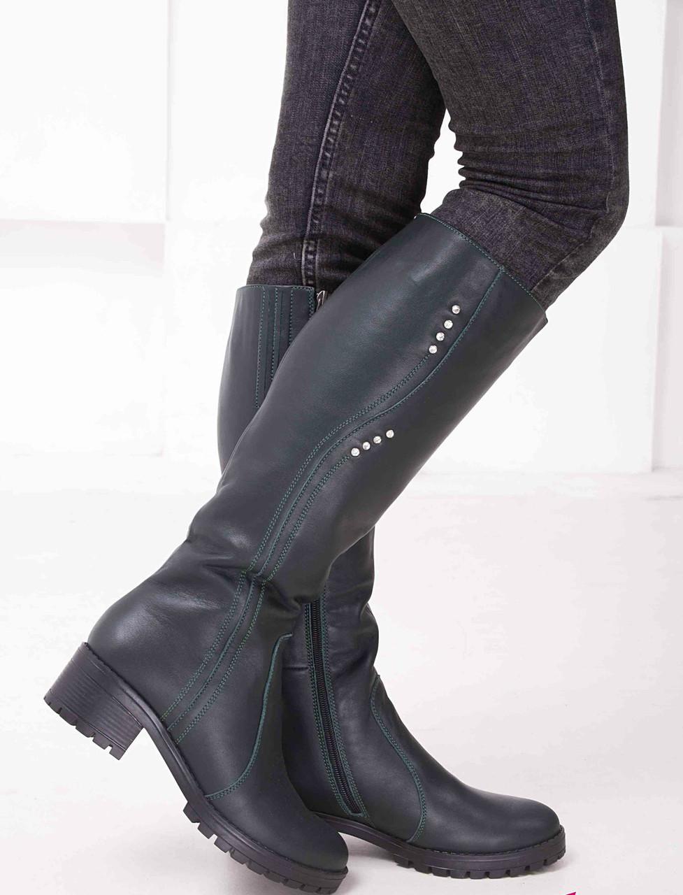 Жіночі шкіряні чоботи на невысокм підборах Можливий відшиваючи у інших кольорах шкіри і замші
