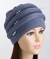 Зимняя женская шапка Каприз джинсового цвета
