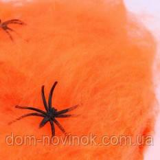 Павутина кольорова з павуками (помаранчева)