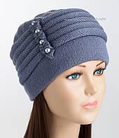 Зимняя женская шапка Мила джинсового цвета