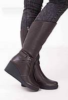 Женские кожаные сапоги на танкетке  Возможен отшив в других цветах кожи и замши, фото 1