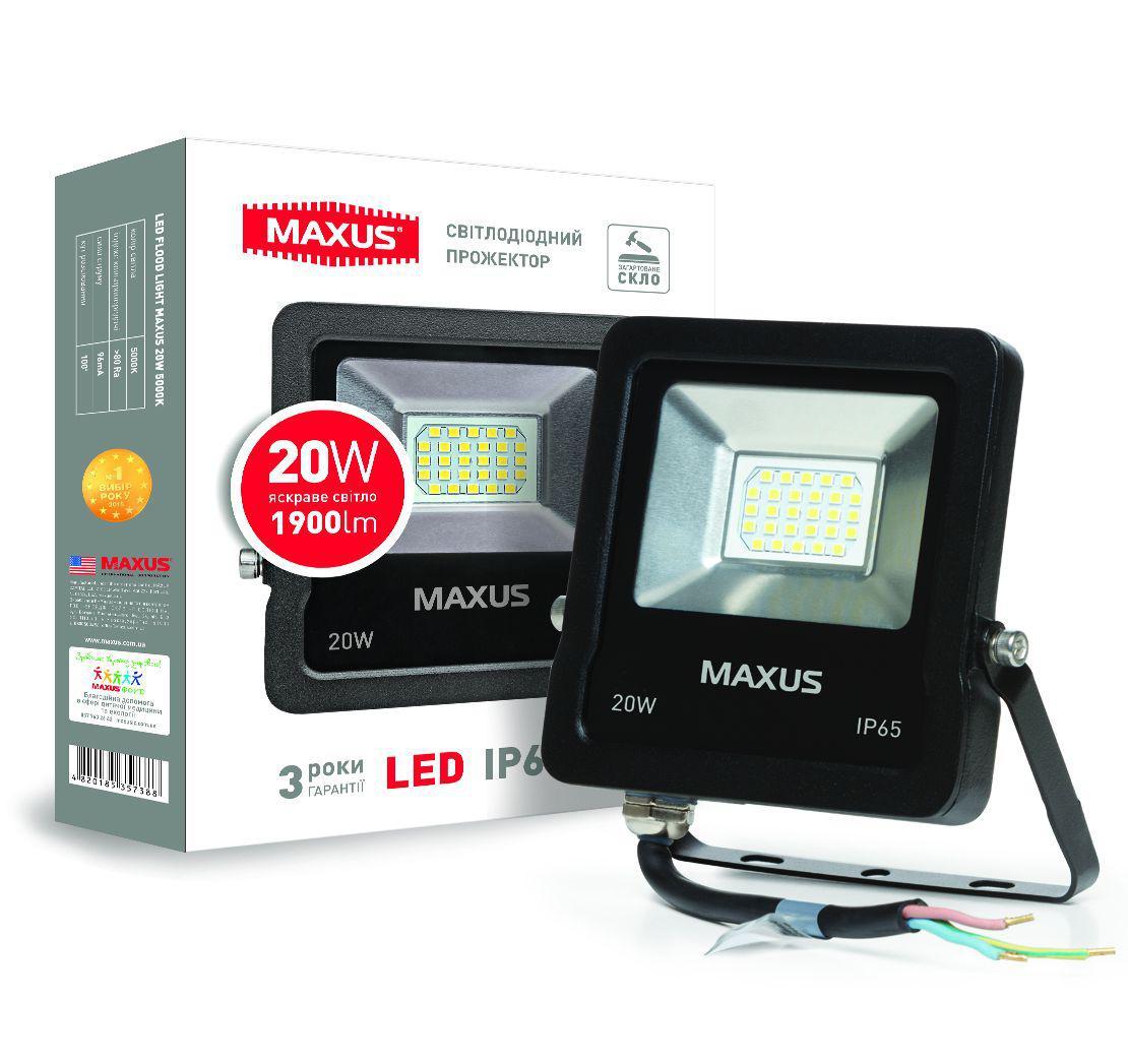 Светодиодный прожектор MAXUS 20W, 5000K