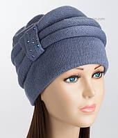 Зимняя женская шапка Марта джинсового цвета
