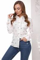 Рубашка из хлопка №1766 р. 42 белые пчелки, фото 1
