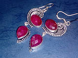 Рубин серьги с натуральным рубином в серебре Индия, фото 2