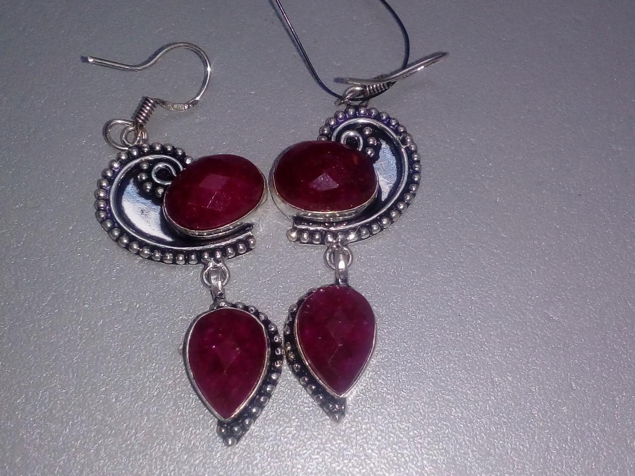 Рубин серьги с натуральным рубином в серебре Индия