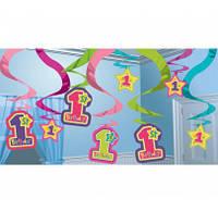 Подвески - гирлянда, праздничная гирлянда, 1 годик девочка Гирлянда бумажная, праздничная.