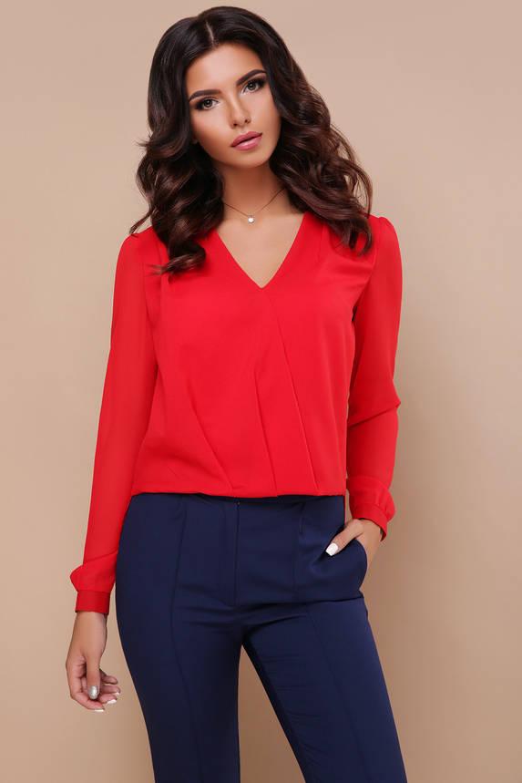 Шифоновая блузка с гипюром красная, фото 2