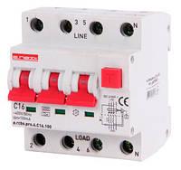 Выключатель дифференциального тока с защитой от сверхтоков e.rcbo.pro.4.C16.100. 3p+N,16А,C.типА.100mA