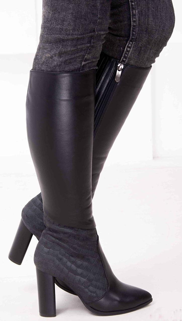 Женские кожаные сапоги с заостренным носком  Возможен отши в вдругих цвета кожи и замши