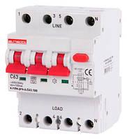 Выключатель дифференциального тока с защитой от сверхтоков e.rcbo.pro.4.C63.100. 3p+N,63А,C.типА.100mA