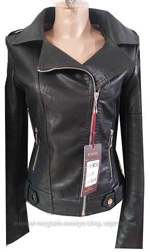 Куртка женская M30 на змейке кожзам клепки с воротником (деми)
