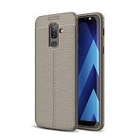 Чехол Samsung J810 / J8 2018 силикон Original Auto Focus Soft Touch серый
