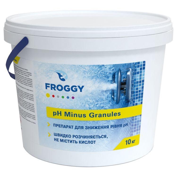 pH минус в гранулах Froggy 10 кг. Средство для понижения пш воды бассейна Фрогги pH minus