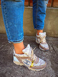 Стильные кроссовки с кружевом женские из натуральной кожи+замш. Маломерят на пол размера.  Размеры: 36-41.