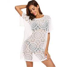 Платье на пляж белое - S (42-44р.) бюст 84-88см, бедра 86-90см, длина 80см, полиэстер