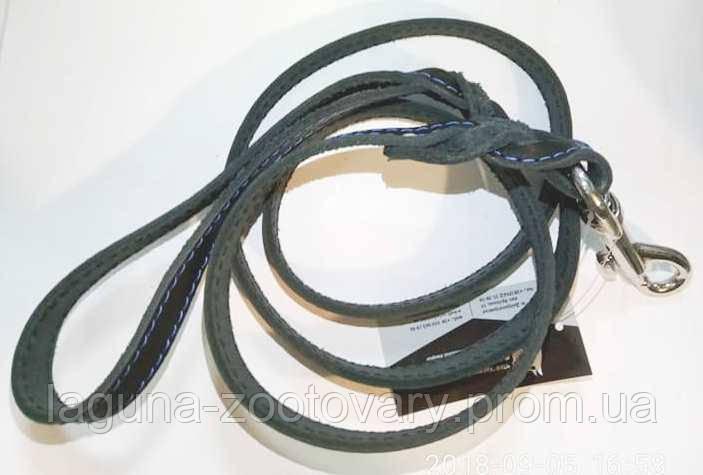 Поводок для собак 1,3м/16мм, черный, натуральная кожа, прошитый, с проплетом