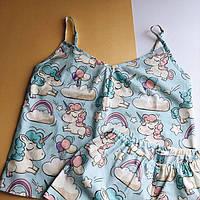 Женская пижамка Единорожки подарок девушке голубая