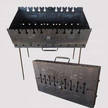 Мангал-чемодан 2-х уровневый на 12 шампуров