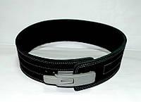 Пояс для пауэрлифтинга кожаный 2-хслойный с карабином, р-р М  (68-90 см), фото 1