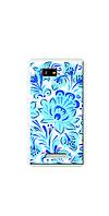 Чехол для HTC Desire 400 (синие цветы)