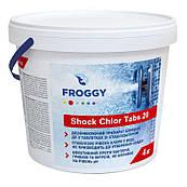 Шоковый хлор Froggy  в таблетках для бассейнов, 4 кг