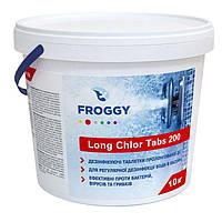 Froggy Long Chlor Tabs 200 10 кг - длительный хлор в таблетках для бассейна, фото 1