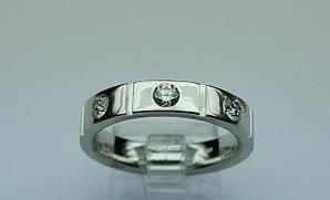 Кольцо белое золото  с бриллиантами . Размер 18