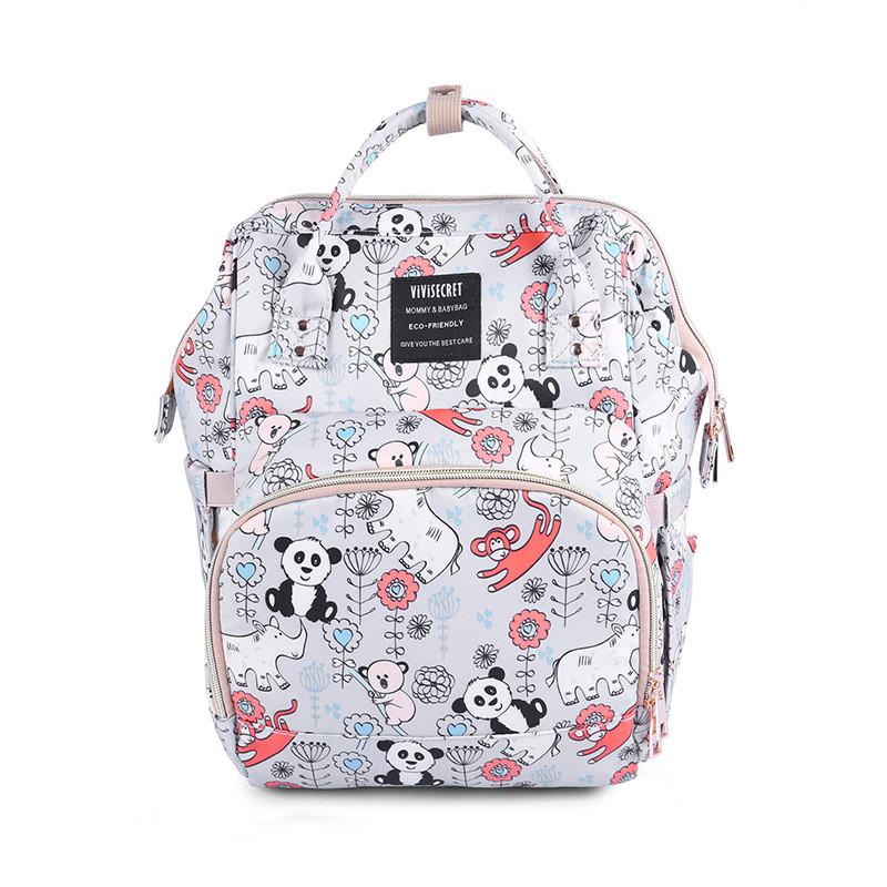 Сумка - рюкзак для мамы Панда, серый ViViSECRET