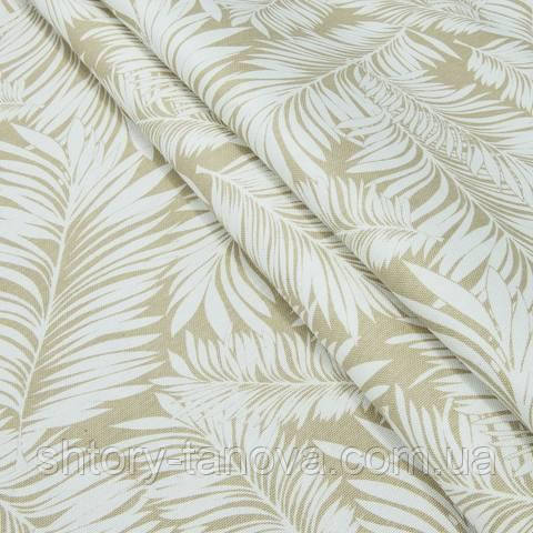 Декоративная ткань для штор, листочки папоротника бежевый