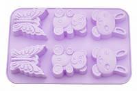Форма для выпечки 6 кексов зайчиков, мишка, бабочка, цвет чайной розы (силикон)