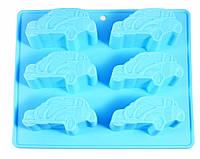 Форма для выпечки 6 кексов АВТОМОБИЛЯХ 22x20x2,5см, цвет ЛАЗУРНЫЙ (силикон)