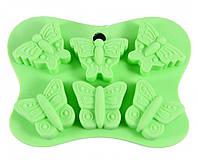 Форма для льда или шоколада 6 ячеек БАБОЧКИ 14x10,5x2 см (силикон)