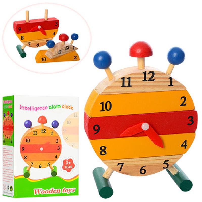 Дерев'яна іграшка Годинник MD 1141 Геометрика, в коробці, 13-18,5-5 см.