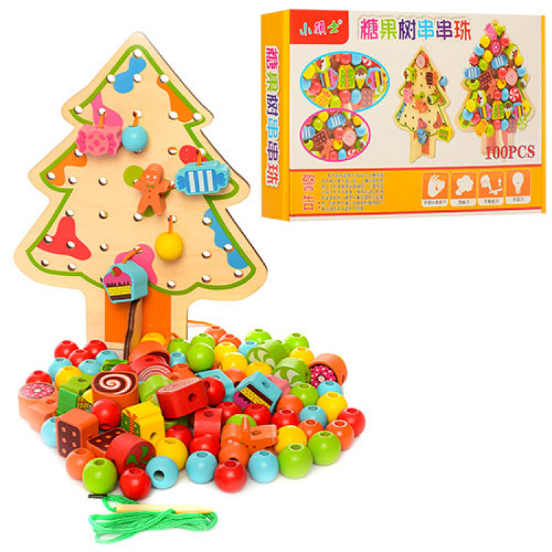 Дерев'яна іграшка Шнурівка MD 1086 ялинка, 100 елементів, в коробці