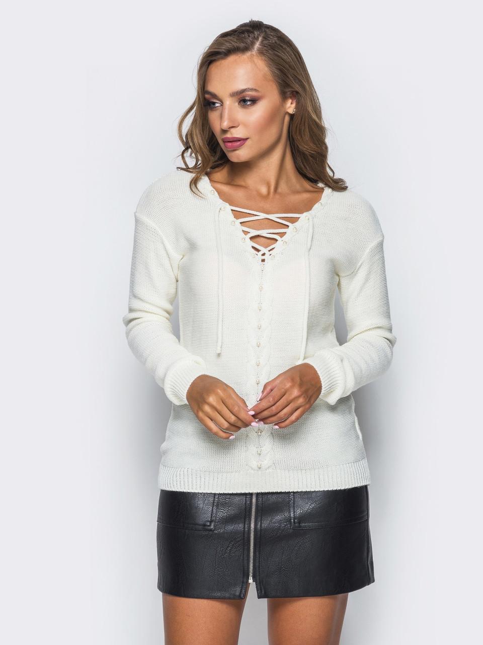 Модный женский свитер с жемчугом и шнуровкой Белый 42-44 размеры