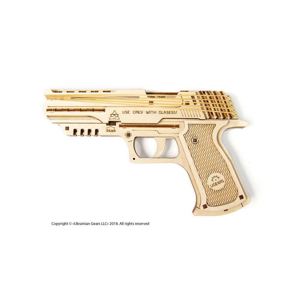 UGEARS Механический 3D пазл Пистолет Вольф-01 (62 детали)