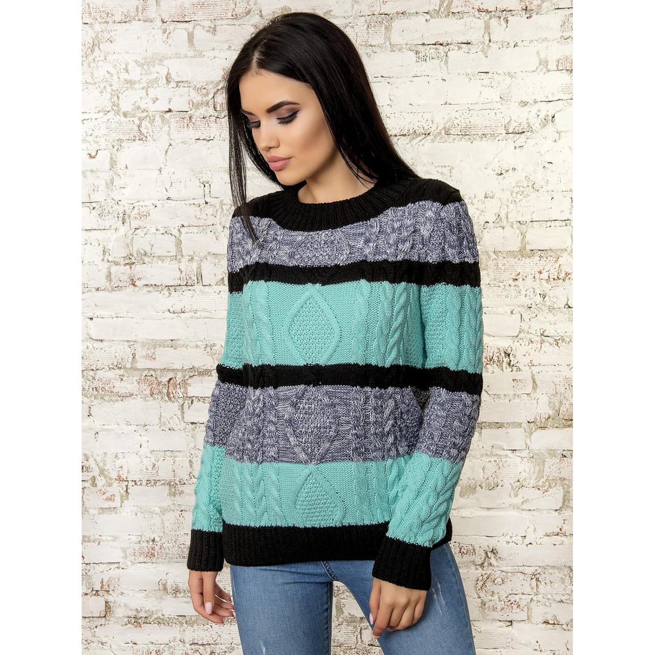 Трехцветный вязаный свитер 42-44-46 размеры 3цвета
