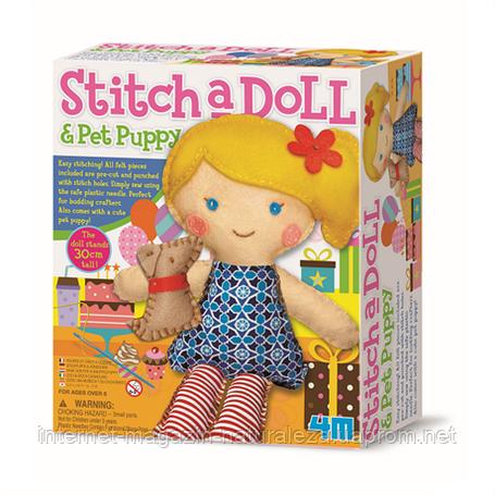 Набор для творчества Шитье Кукла со щенком 4M, фото 2