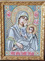 Икона «Утали моя печали» ручной работы вышитая крестом