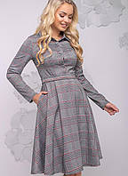 Женское расклешенное платье в клетку (2783-2781 svt)