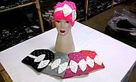 Женские, подростковые шапки шерстяные на флисовой подкладке ША-8