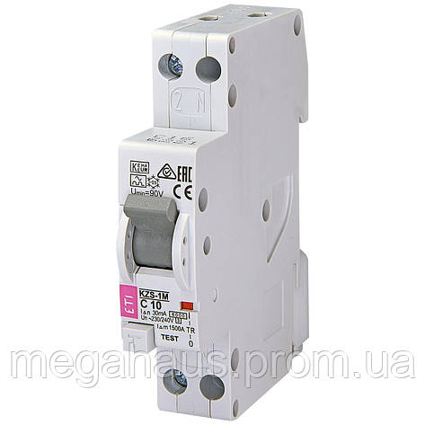 Дифференциальный автоматический выключатель. ETI KZS-1M C 10/0,03 тип A (6kA) (нижн. , фото 2