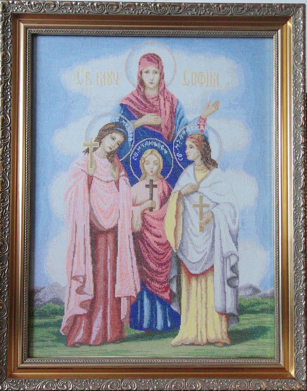 Икона «Вера, Надежда, Любовь и мать их София» ручной работы вышитая крестом