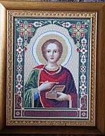 Икона «Пантелеймон Целитель» ручной работы вышитая крестом