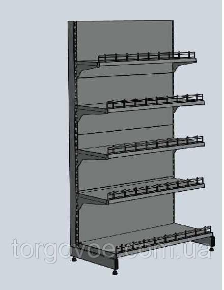 Новые торговые стеллажи с полками и ограничителем товара. Торговое оборудование, фото 1