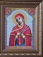 Икона «Семистрельная» («Умягчение злых сердец») ручной работы вышитая крестом