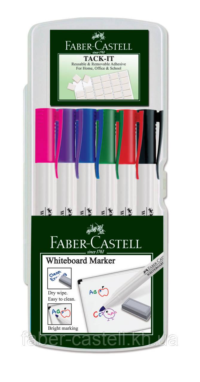 Набор маркеров для доски Faber-Castell 6 цветов Slim Whiteboard + клей Tack it многоразовый, 156077