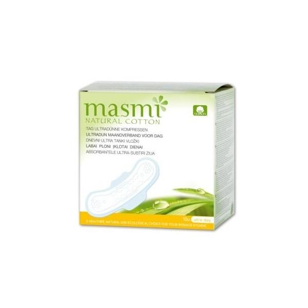 Органические ультратонкие прокладки для нормальных и сильных выделений с крылышками, 10 шт., MASMI