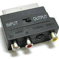 Переходник штекер Скарт - 3 гнезда RCA + гнездо mini din4Р, с переключателем
